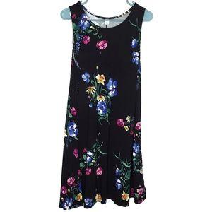 Old Navy Sleeveless Shift Dress Black Floral - XL